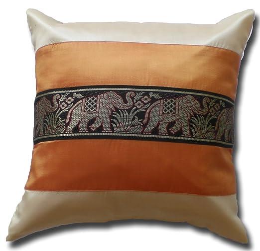 by soljo - Seda tailandesa ** naranja ** elefante motivo funda de cojín almohada 41 cm x 41 cm Tailandia