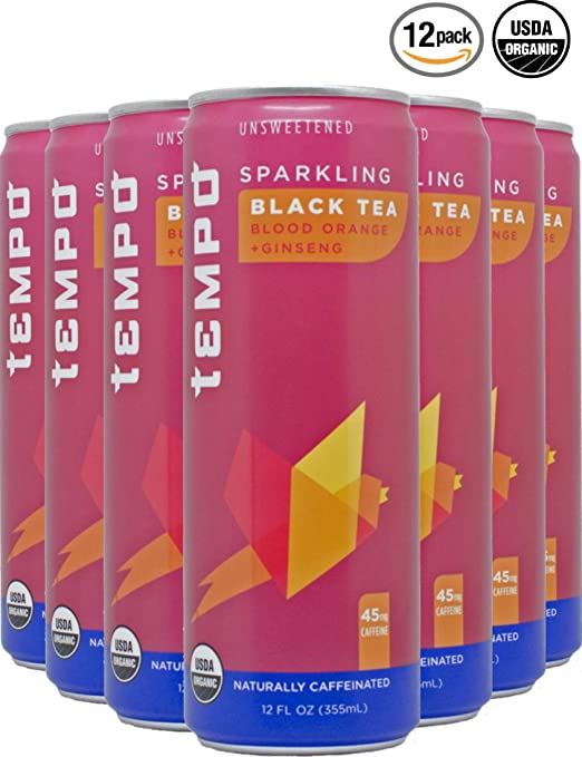Tempo, Sparkling Tea, Sparkling Water, Black Tea, Blood Orange, Ginseng, Unsweetened, Organic - 12 Ounce, 12 Count (BlackTea w/Blood Orange and Ginseng)