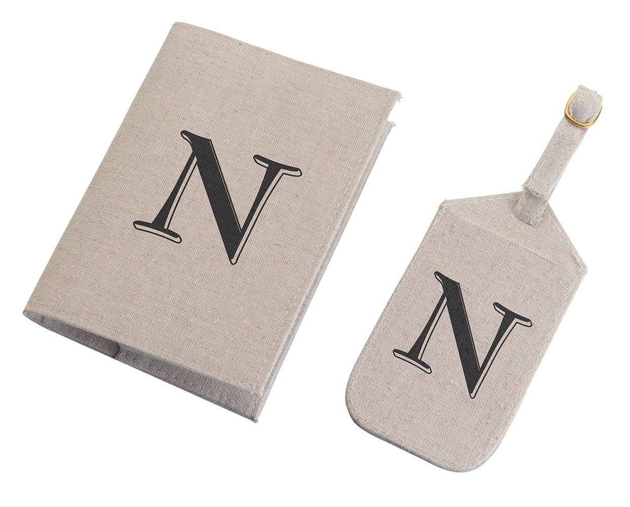 Lillian Rose Monogram Letter N Luggage Tag/Passport Cover, Tan