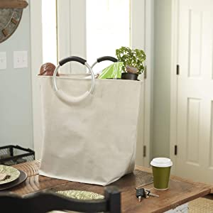 Household Essentials 2275 Krush Oval Laundry Hamper Bag with Round Aluminum Ring Handles - White