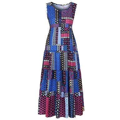 35ee4ed9010 HOMEBABY🔥 Women Boho Maxi Dress Plus Size - Ladies Sleeveless/Long Sleeve  Vintage Elegant T Shirt Dress Girls Party Spring Casual Beachwear Long  Dresses ...