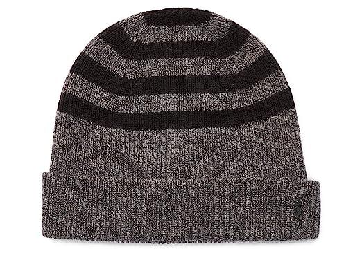 c752b3618176d Polo Ralph Lauren Men s Rib-Knit Wool-Cashmere Hat Charcoal Black One Size