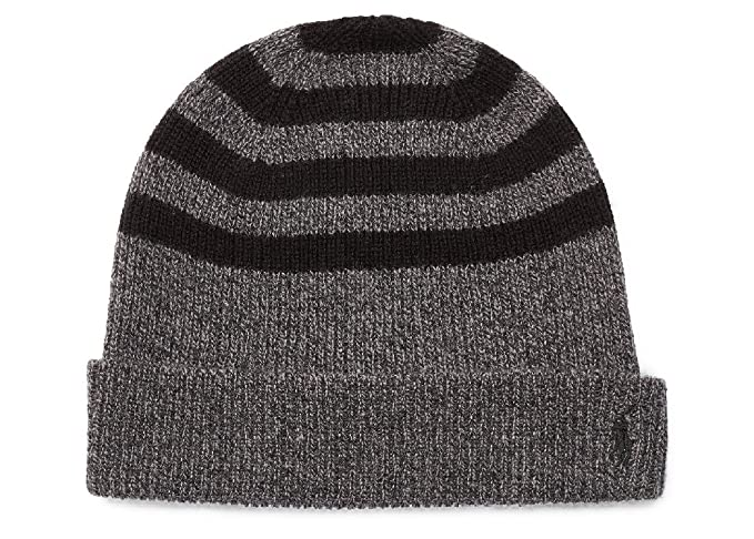 Polo Ralph Lauren Men s Rib-Knit Wool-Cashmere Hat Charcoal Black One Size 07e87cc88b1
