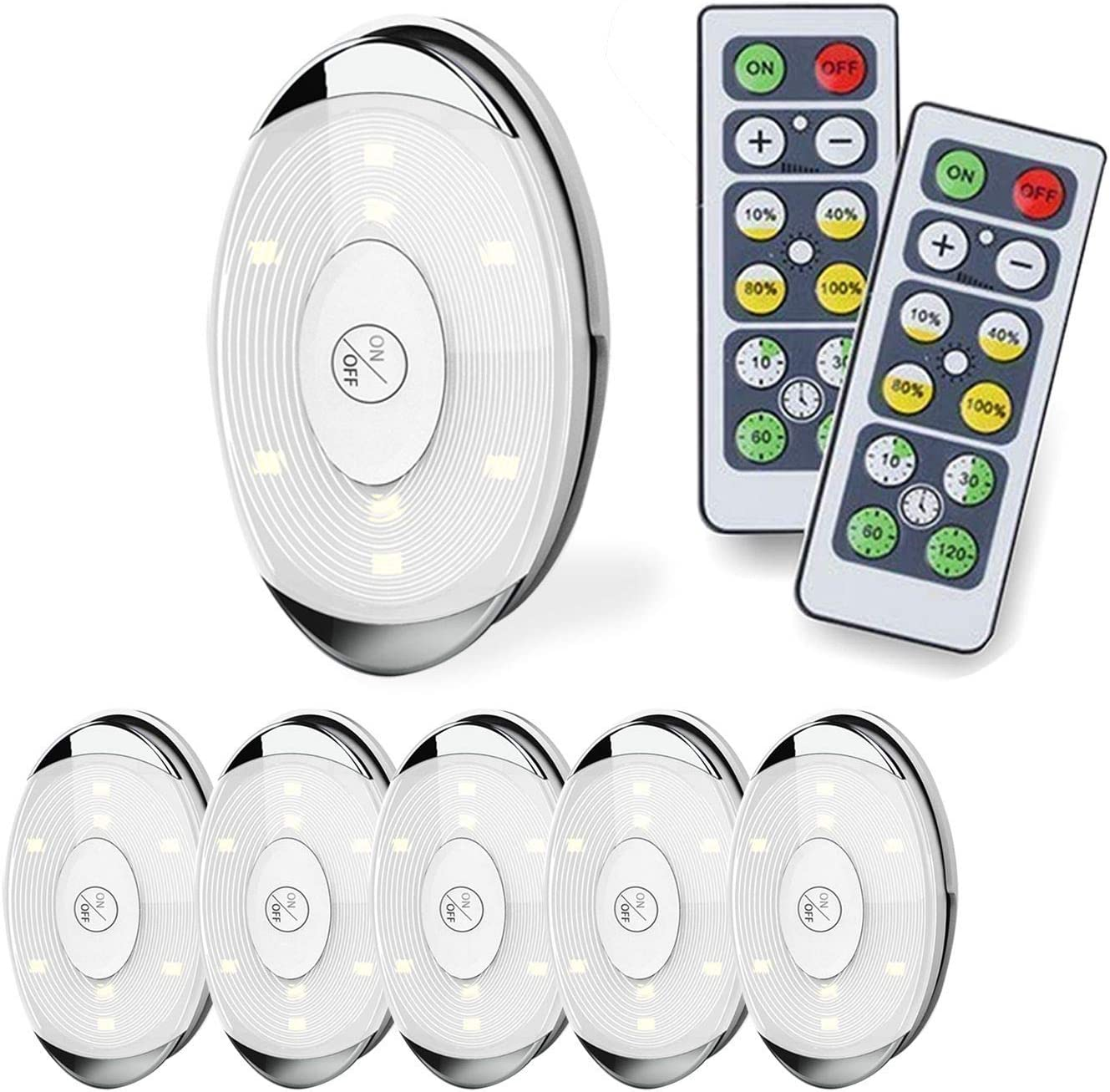Amazon Com Led Puck Light Led Lights Battery Operated With Remote Control Wireless Soft Lighting Under Cabinet Lighting For Kitchen Timer Dimmer 4000k Warm White 6 Pack Home Improvement