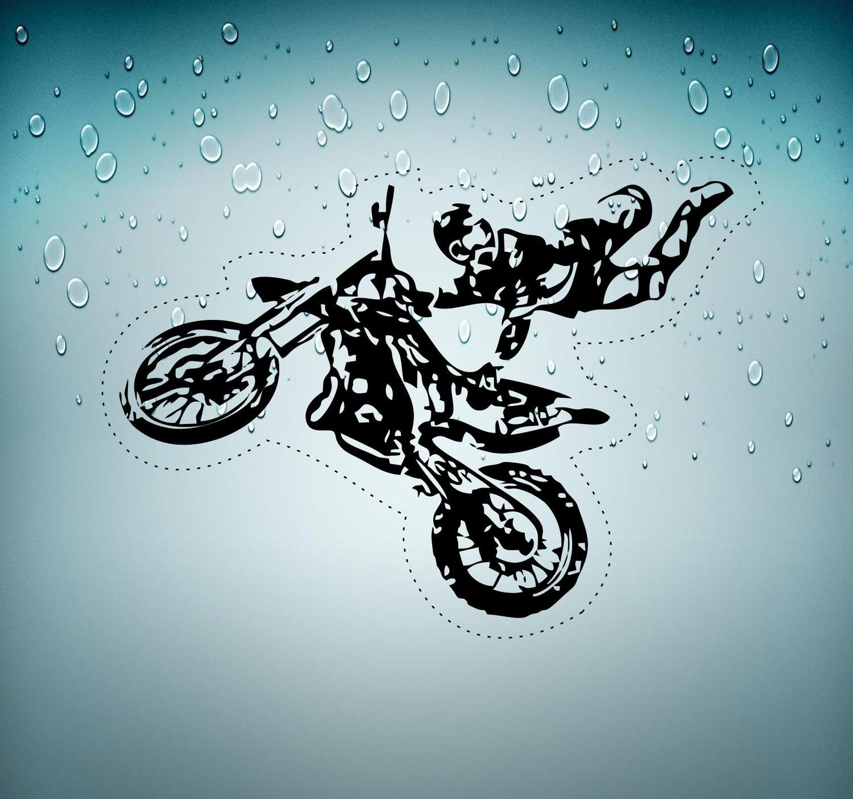 Akachafactory Selbstklebend Wandtattoo Biker Biker Auto Motorrad Motocross Cross R2