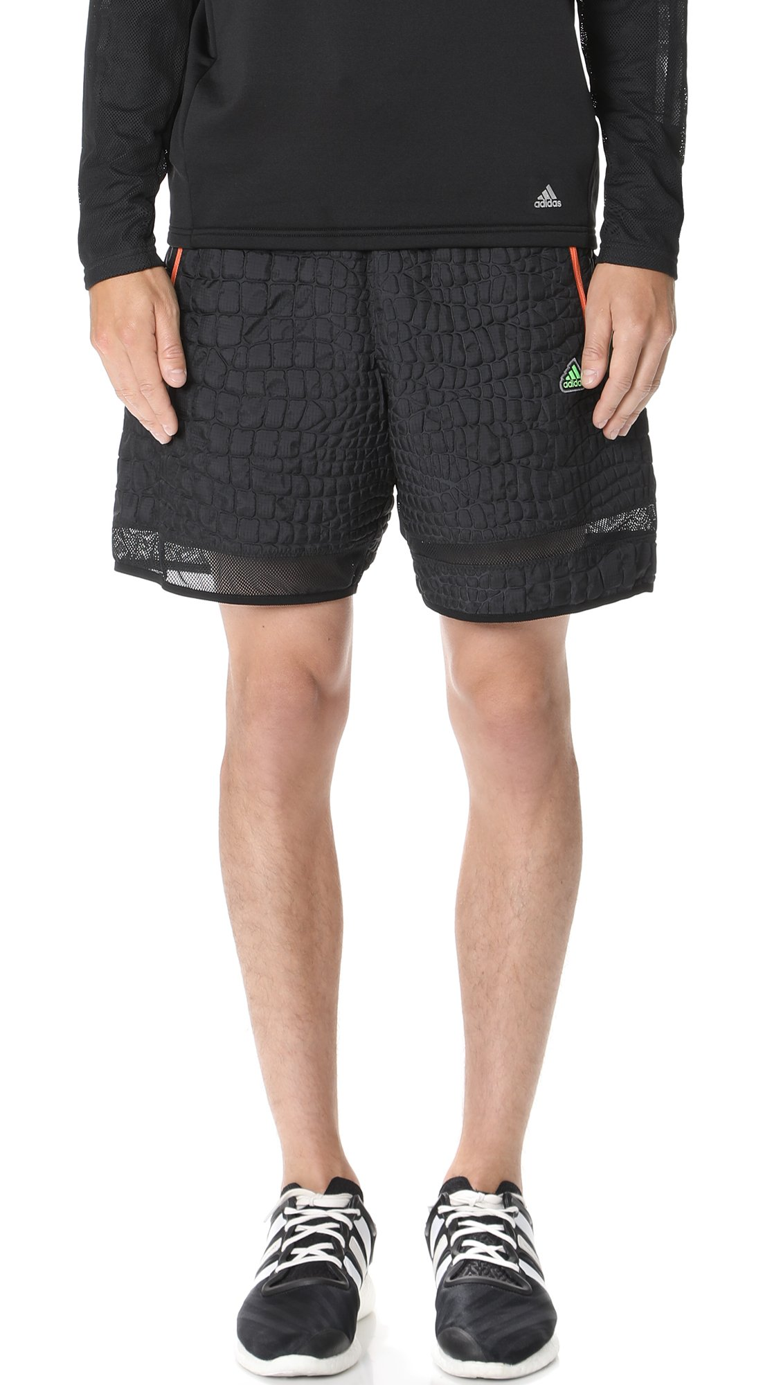Adidas by Kolor Men's Embossed Shorts, Black, Medium