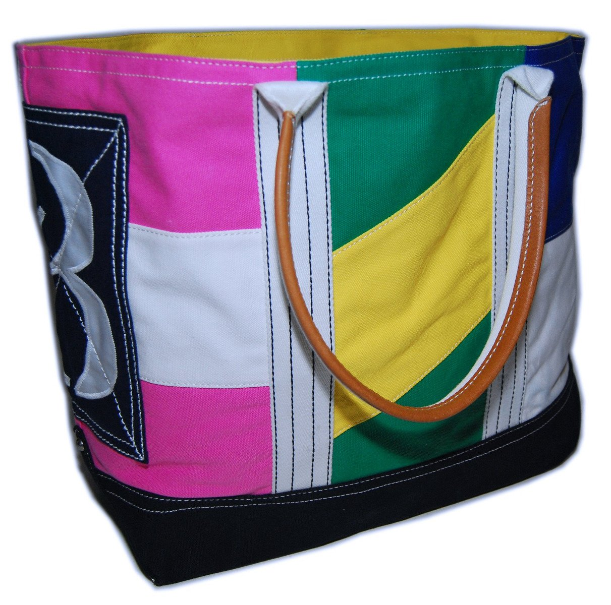 Ralph Lauren Rugby Vintage Canvas Carryall Tote Bag Pink Green Yellow Blue Navy