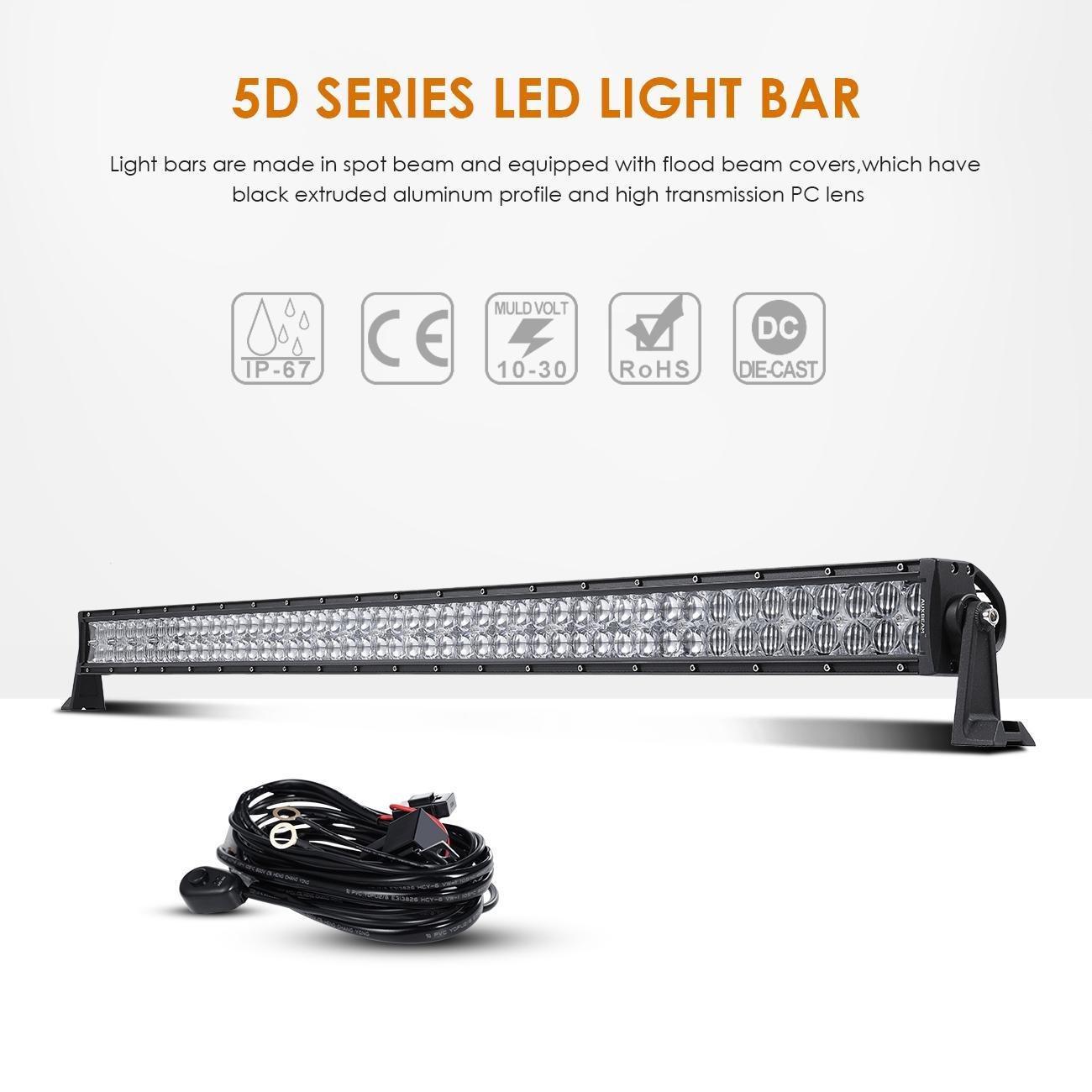 "Auxbeam 52"" 300w LED Light Bar For Jeep, Suv, Utv, Atv, With Wiring Harness"