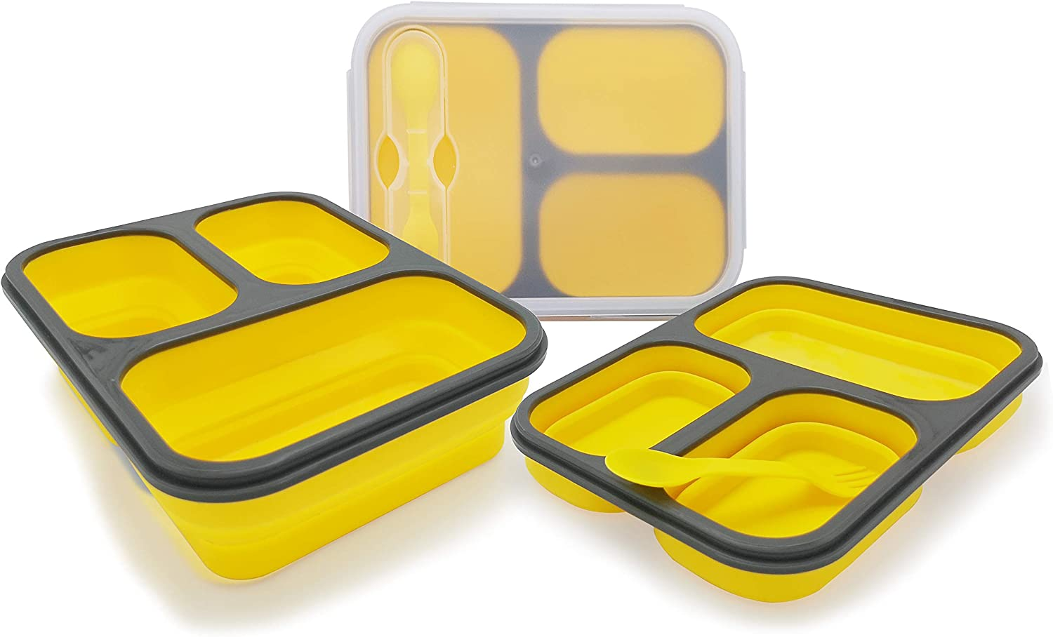 Exclusivo Bolsillo Bento Lunch Box for Women Men & Kids With Spoon & Fork,BPA Free,Collapsible and Leakproof Food Grade Silicone Food Storage Containers with 3 Compartments (Yellow,One Container)
