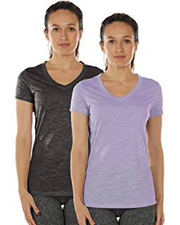 6a713a1bb72fa icyzone Workout Shirts for Women - Yoga Tops Activewear Gym Shirts Running Fitness  V-Neck