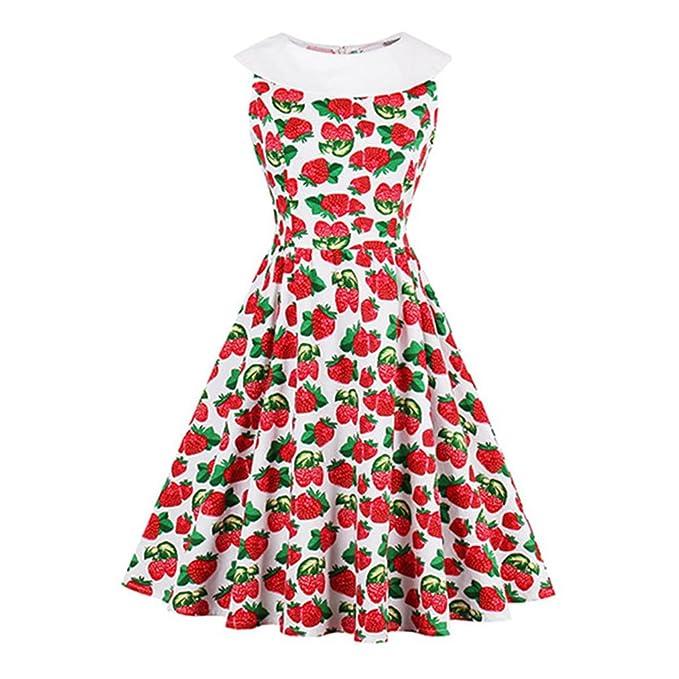 new Summer Women 1950s Retro Dress Red StrawBerry Print Knee Length Dresses Zippers Female Elegant Vintage