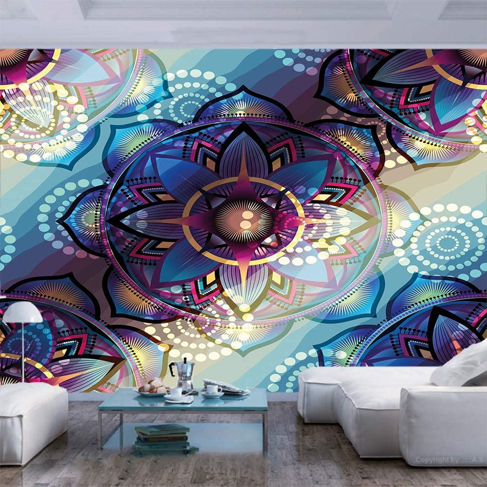 Amazon Com 77x30 Inches Wall Mural Gradient Diagonal Mystic Symbols Geometric Alchemy Trippy Ethnic Motif With Ornaments Peel And Stick Self Adhesive Wallpaper Removable Large Wall Sticker Wall Decor For Home Of Home Kitchen