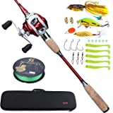 Sougayilang Fishing Baitcaster Combos, Lightweight Baitcasting Combo Fishing Rod and 11+1BB Fishing Reel Right Left Hand for Travel 4 Pieces Saltwater Freshwater