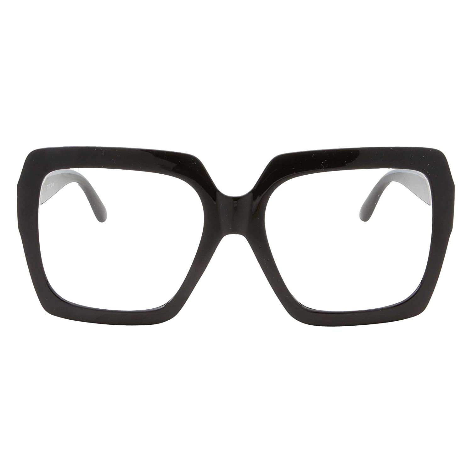 6c6cd71fef Amazon.com  XL Black Thick Square Oversized Clear Lens Glasses - Men and  Women Costume or Fashion (Black)  Clothing