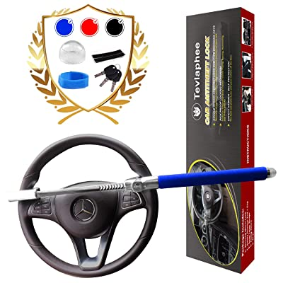Tevlaphee Steering Wheel Lock For Cars,Wheel Lock,Vehicle Anti-Theft Lock,Adjustable Length Clamp Double Hook Universal Fit Emergency Hammer Window Breaker Self Defense Heavy Duty Secure: Automotive