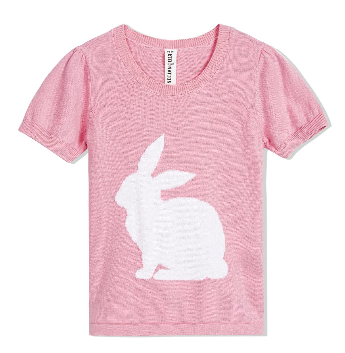 Kid Nation Girls' Pullover Easter Rabbit Short Sleeve Round Neck Sweater Pink