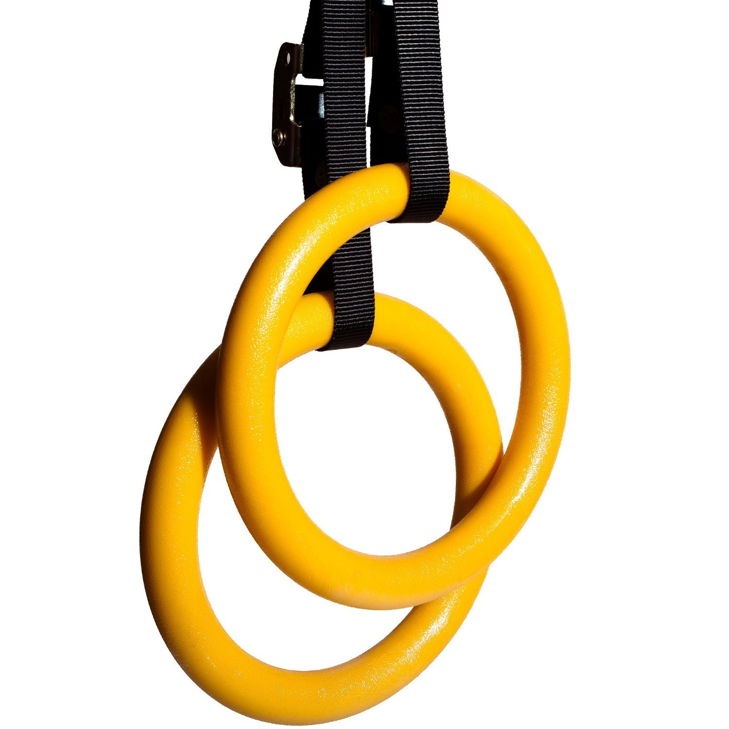 Synergee 9.25 Diameter Wood Olympic Gymnastics Rings with Adjustable Straps for Crossfit Pull Up Dips Muscle Ups