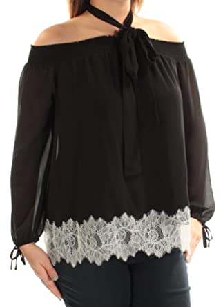 7a6e09aa0bfe92 Image Unavailable. Image not available for. Color: Michael Kors $135 Womens  New 1170 Black Cold Shoulder Long Sleeve Top ...