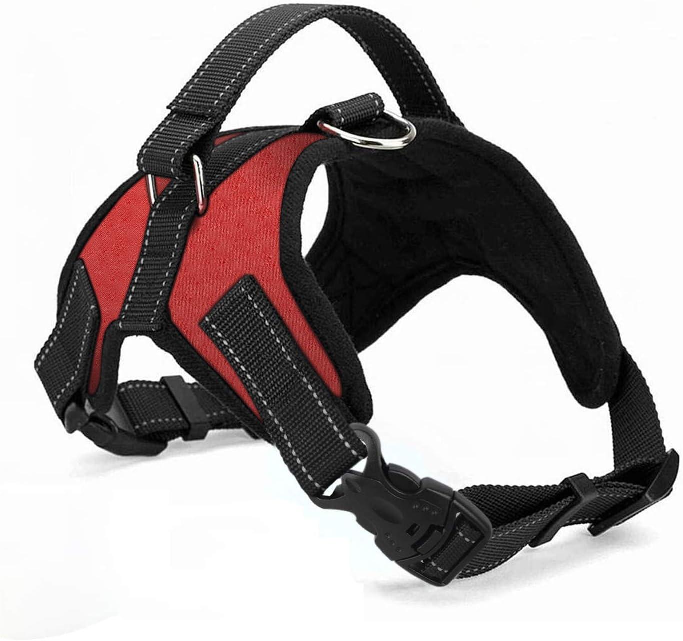Wodondog Arnés para Perros Reflectantes Cómodo Transpirable Chaleco Acolchado Ajustable Arnés para Perros Grandes Medianos Pequeños (XL, Rojo)