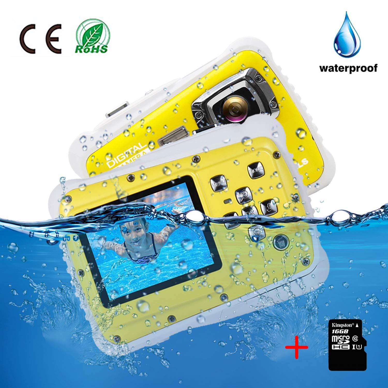 Kids Camera Underwater Digital Camera-IP68 Waterproof Toddler Camera,Video Recorder Action Preschool camera,2.0 Inch LCD Display,16G TF Card Floating Wrist Strap,8X Digital Zoom, Flash and Mic for Kid