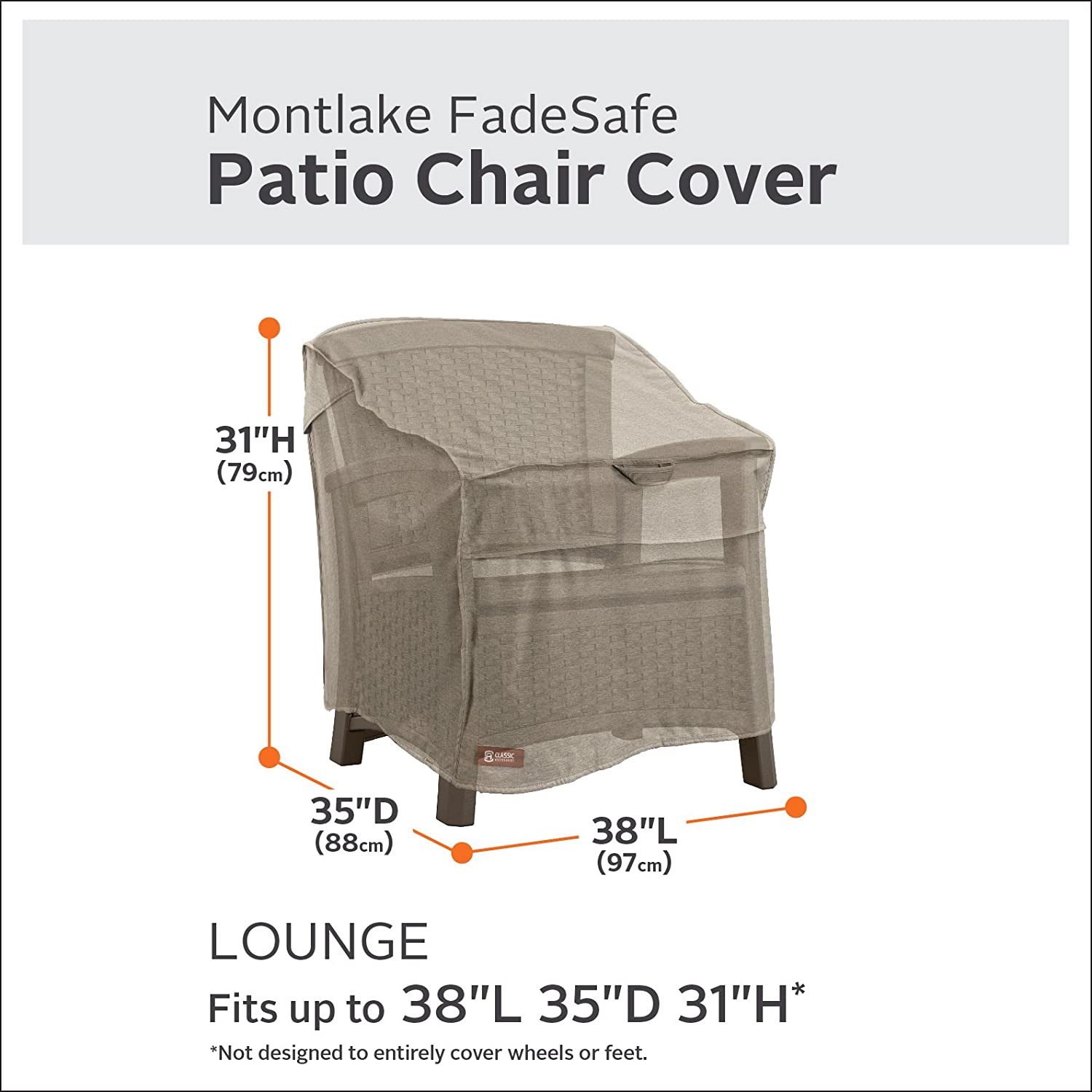 Classic Accessories Montlake FadeSafe Heavy Duty Patio Lounge Chair Cover, Heather Grey, Large