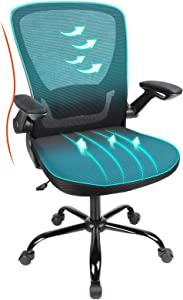Komene Office Chair Ergonomic Chairs,330lbs Mesh Mid Back Computer Chair with Lumbar Support and Flip-up Arms, Mid Back Adjustable Seat Height, Black