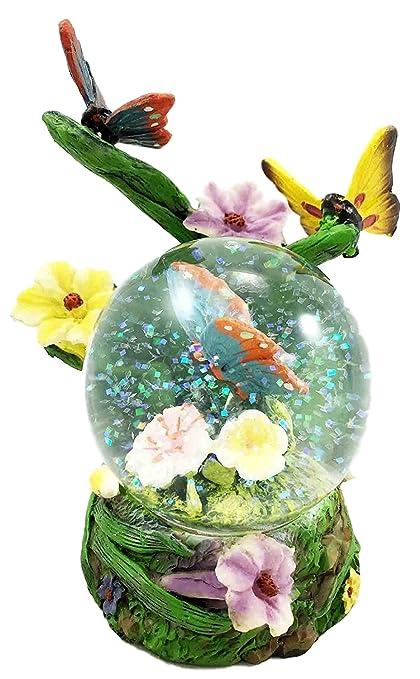 Mariposa Butterfly Flitting On Flower Petals Snow Water Globe Desktop Figurine