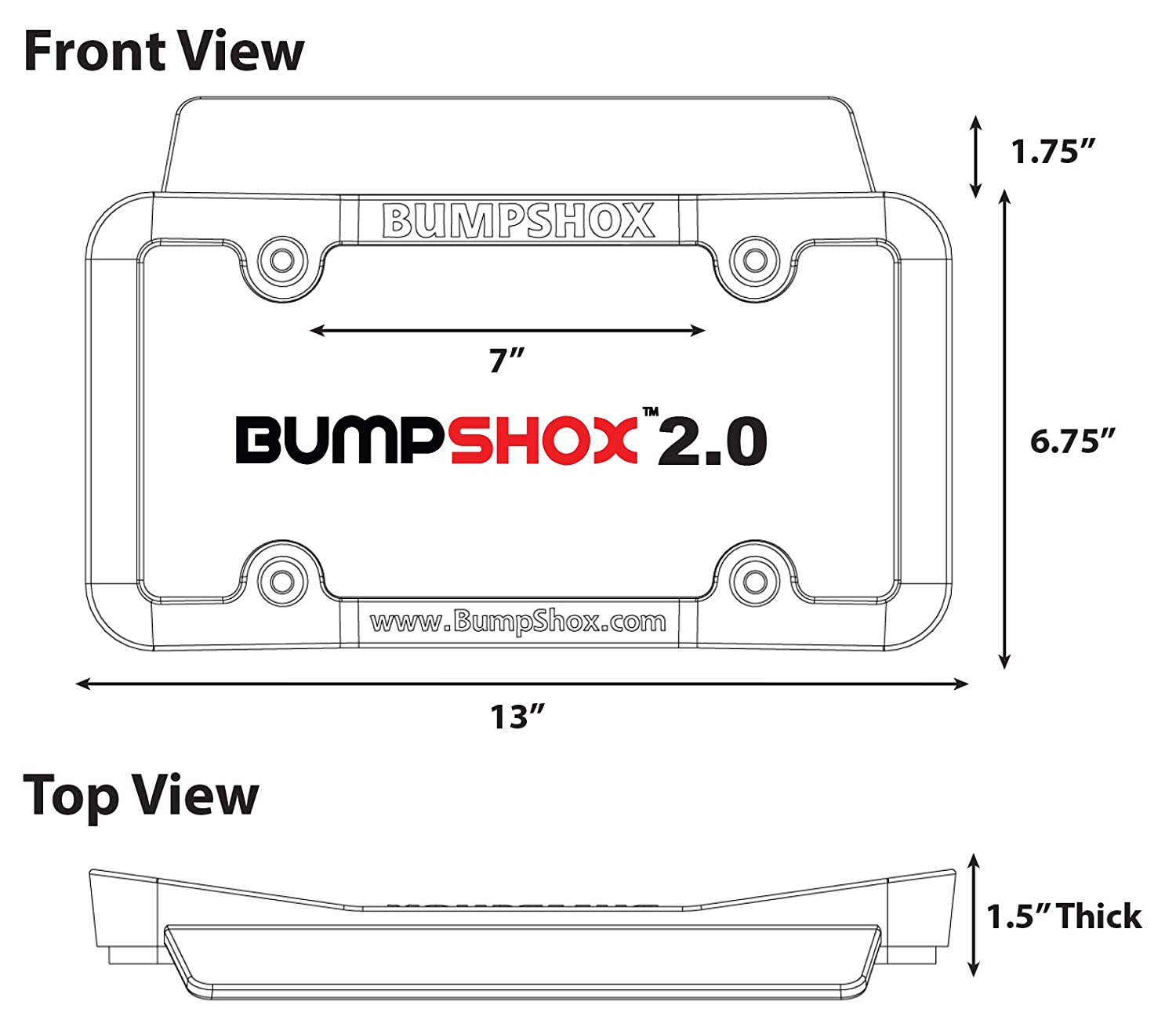 Tougher Than Steel ! Front Car Bumper Protection Ultimate Front Bumper Guard BumpShox 2.0 Front Bumper Protection License Plate Frame