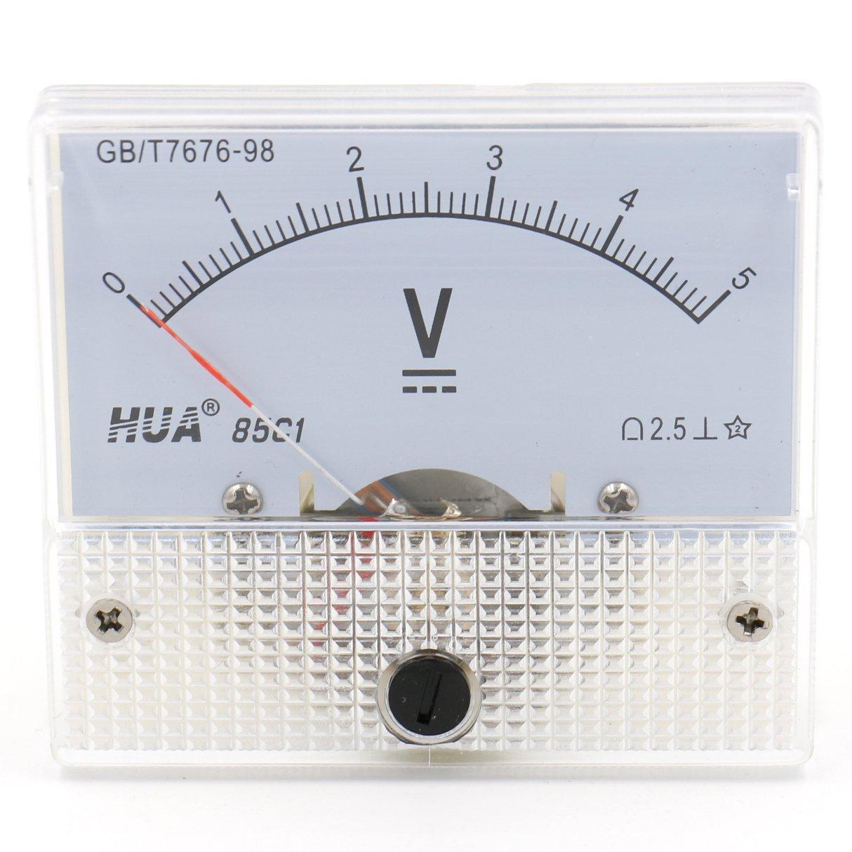 heschen 85 C1 –  5 V Rectangle panel mounted comprobador de medidor de voltaje voltí metro DC 0 –  5 V Clase 2, 5 color blanco 5color blanco HUA 85C1-5V