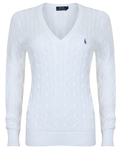 free shipping e3b0d dc56c Polo Ralph Lauren Cable Knit V-Neck Cotton Pullover Kimberly Weiss