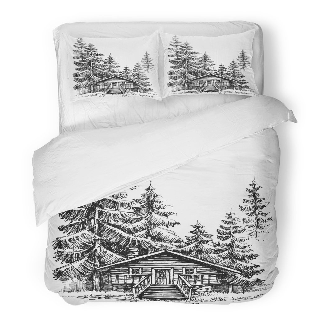 SanChic Duvet Cover Set Sketch Wooden Cabin in the Pine Forest Idyllic Winter Landscape Holidays Retreat Woods Decorative Bedding Set 2 Pillow Shams King Size by SanChic (Image #1)