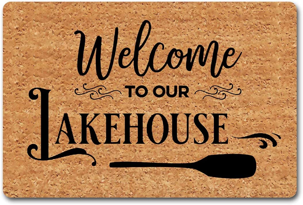 Julia Funny Welcome Rug Personalized Doormat Welcome to Our Lakehouse Welcome Doormat Lake House Mat (23.7 in X 15.6 in) Fabric Top with a Anti-Slip Rubber Back for The Entrance Way Indoor Rug
