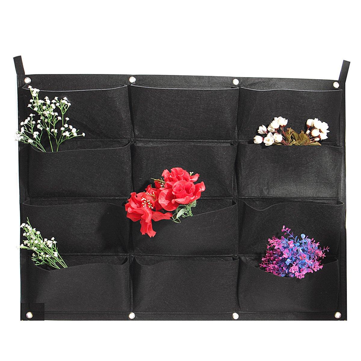 Lovinn - Maceta para colgar, 12 bolsillos, vertical, para jardí n, fieltro, para colgar en la pared, para interiores y exteriores, bolsa de cultivo para jardín