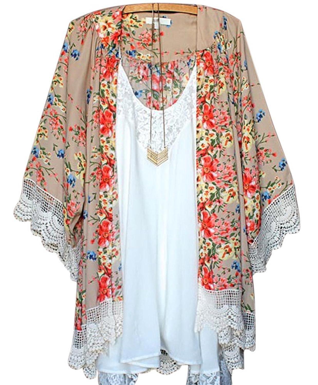 LOSORN ZPY Damen Sommer floral Bedruckte Kimono Spitze Chiffon Cardigan Strandkleid Boho Tops