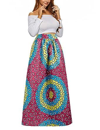 2989de21d291d9 Uideazone Women Skirts Vintage High Waisted Floral African Maxi Long Skirt