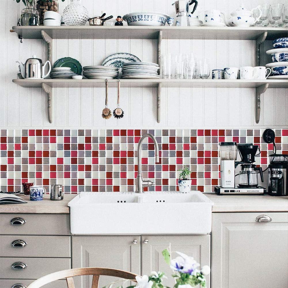 Yoillione Peel And Stick Tiles Kitchen Tile Wallpaper Bathroom Tile Transfers Waterproof 3d Mosaic Tile Stickers For Kitchen Tile Decal Stickers Self Adhesive Backsplash Tiles Wall Stickers Tile Stickers