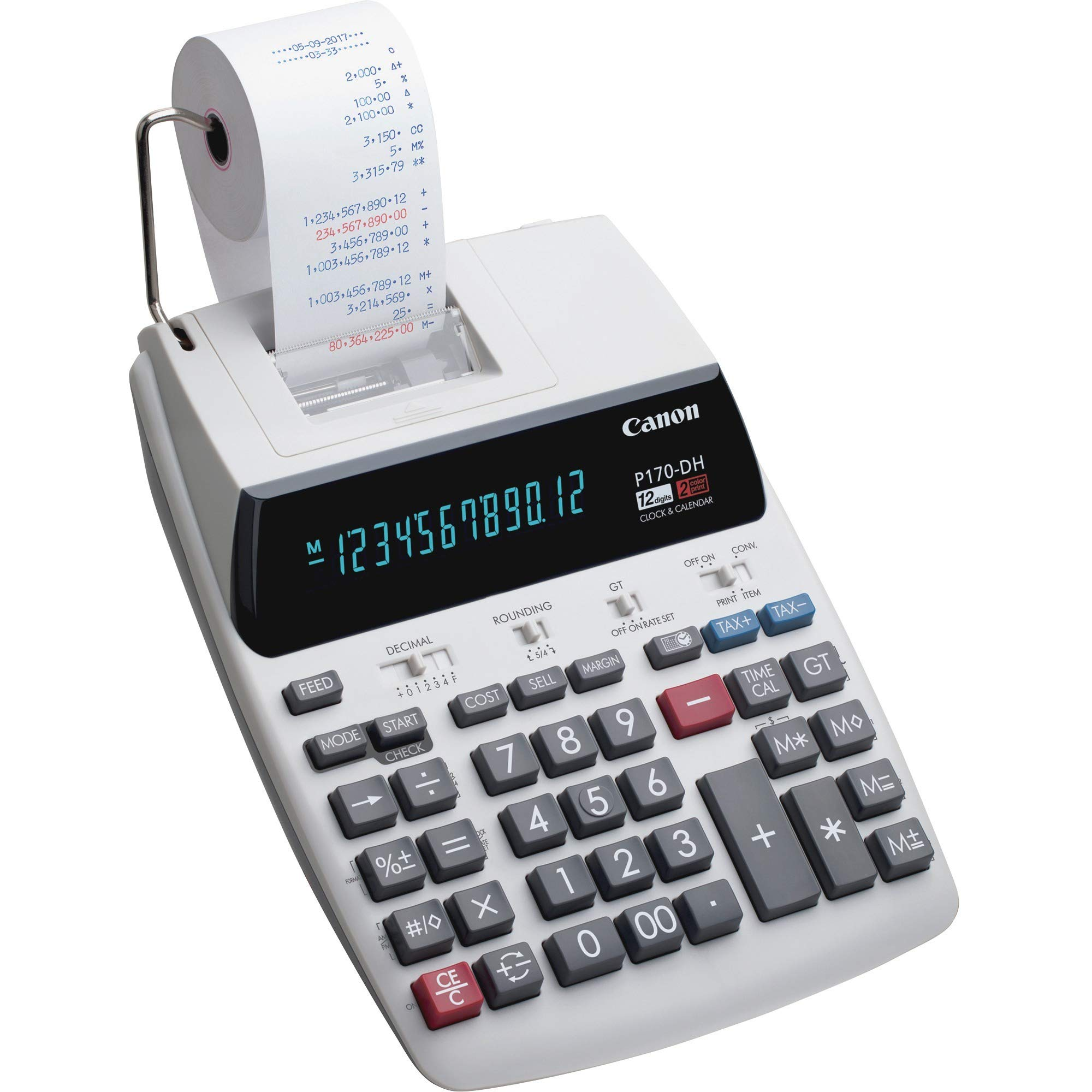 Canon P170DH3 12-Digit Desktop Printing Calculator, White