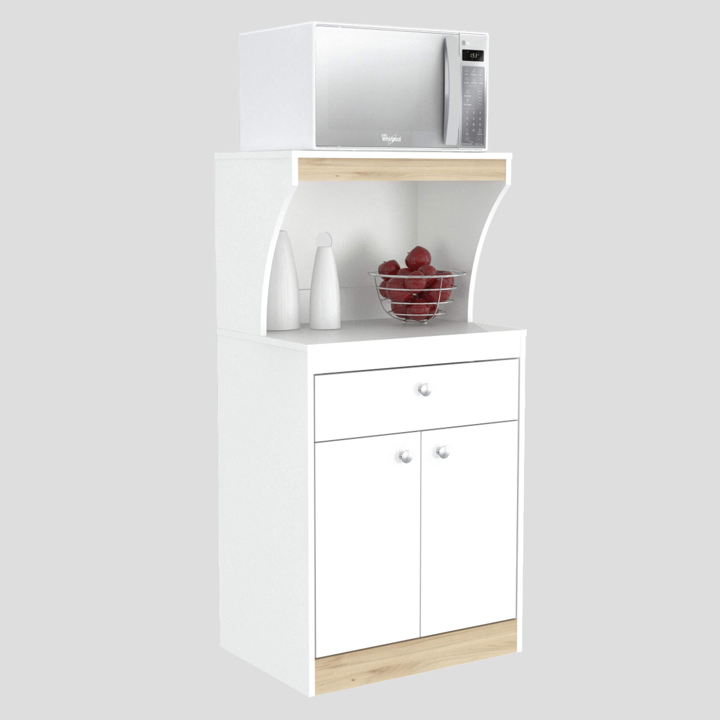 Inval GCM-060 Galley Kitchen/Microwave 1-Drawer/2-Door Storage Cabinet, White and Vienes Oak