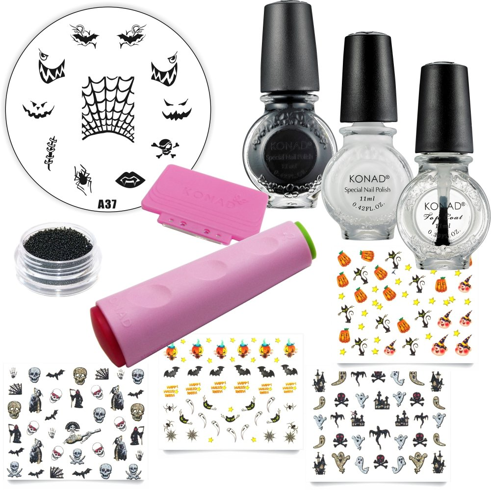 Halloween Nail Art Set - XL de Incluye Konad stampinglack Negro 11 ml, RM beautynails - Barniz de color blanco de 11 ml, Konad Top Coat claro 11 ml, ...