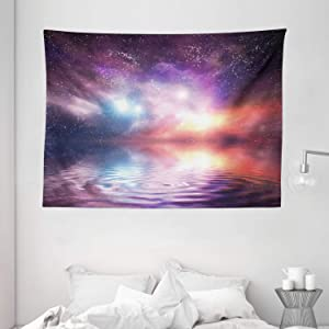 """Ambesonne Nature Tapestry, Ocean Under Northern Galaxy Milky Way in Mystical Dark Cosmos Reflection Planet Photo, Wide Wall Hanging for Bedroom Living Room Dorm, 80"""" X 60"""", Purple"""