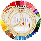 OPount 77 Pieces Full Range of Cross Stitch Starter Kit with 5 Pieces Embroidery Hoop, 50 Color Embroidery Thread, 2…