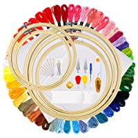 OPount 77 Pieces Full Range of Cross Stitch Starter Kit with 5 Pieces Embroidery Hoop, 50 Color Embroidery Thread, 2 Pieces Reserved Adia and 20 Pieces Cross Stitch Tool Kit