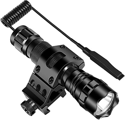 ccko Tactical Flashlight 1200 Lumen LED Flashlight Waterproof with 1 Picatinny Rail Mount Rechargeable Battery and Remote Pressure Switch