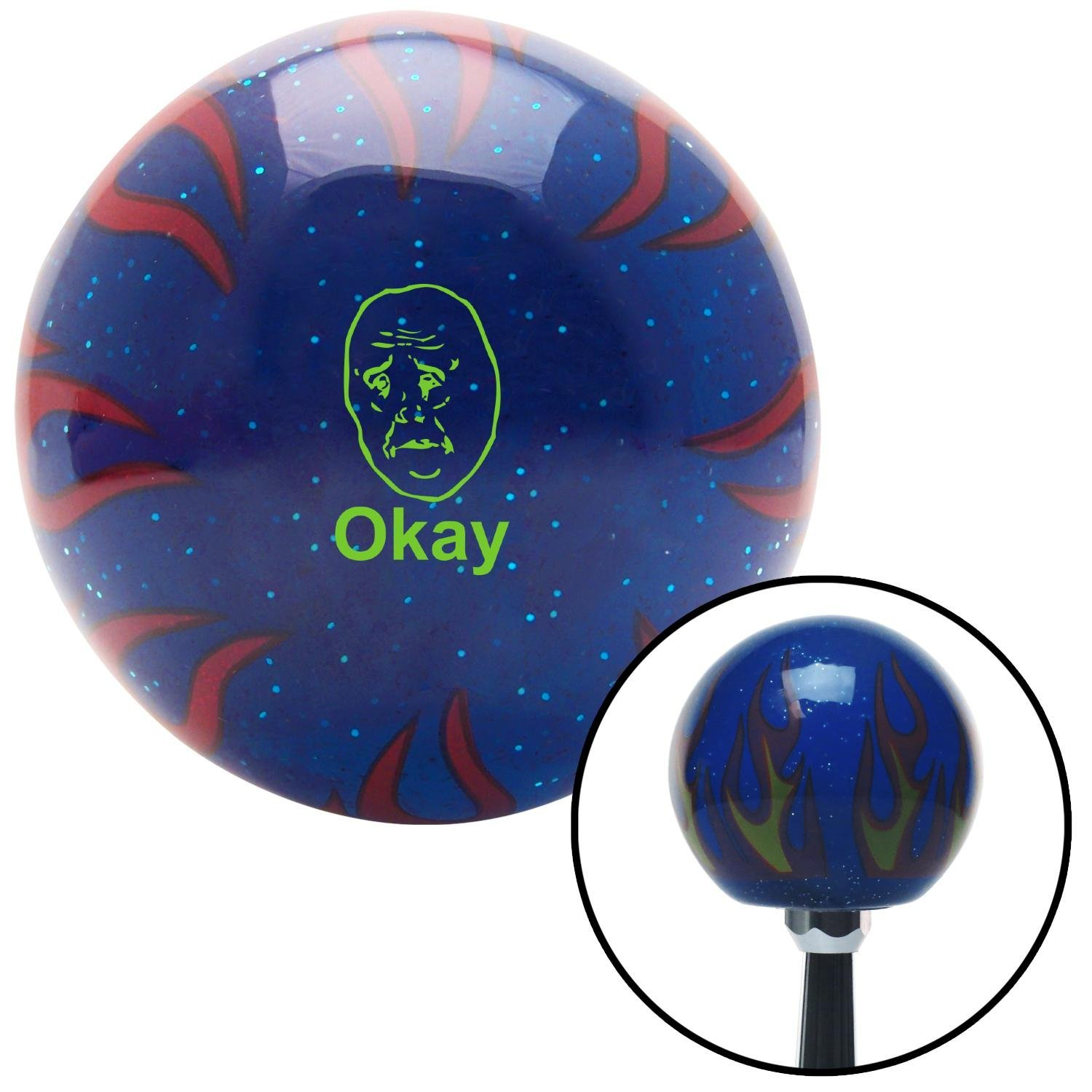 American Shifter 297797 Shift Knob Green Okay Blue Flame Metal Flake with M16 x 1.5 Insert