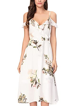 1a04317024 Noctflos Floral Printed Midi Cold Shoulder Cocktail Party Dress for Petite  Women