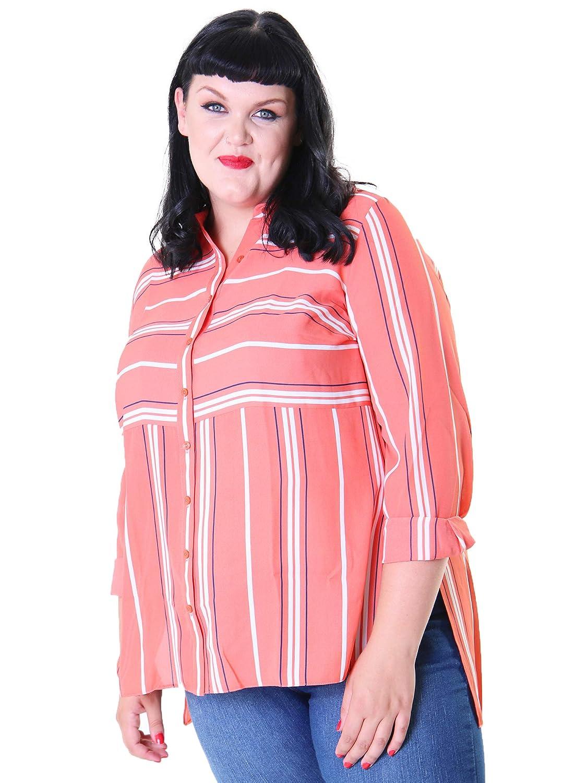 Lovedrobe GB Women/'s Plus Size Black V-Neck Blouse