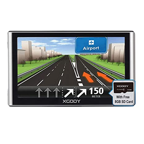 Xgody 16GB Truck Car GPS Navigation System 7 Inch Capacitive Touch Screen  Navigator Support Hands-Free Calling Advanced Lane Guidance Red Light