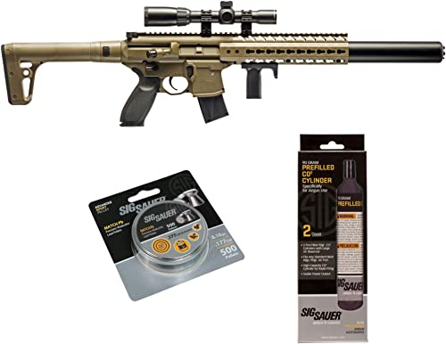 SIG Sauer MCX .177 Cal CO2 Powered Advanced Air Rifle with CO2 90 Gram 2 Pack and 500 Lead Pellets Bundle