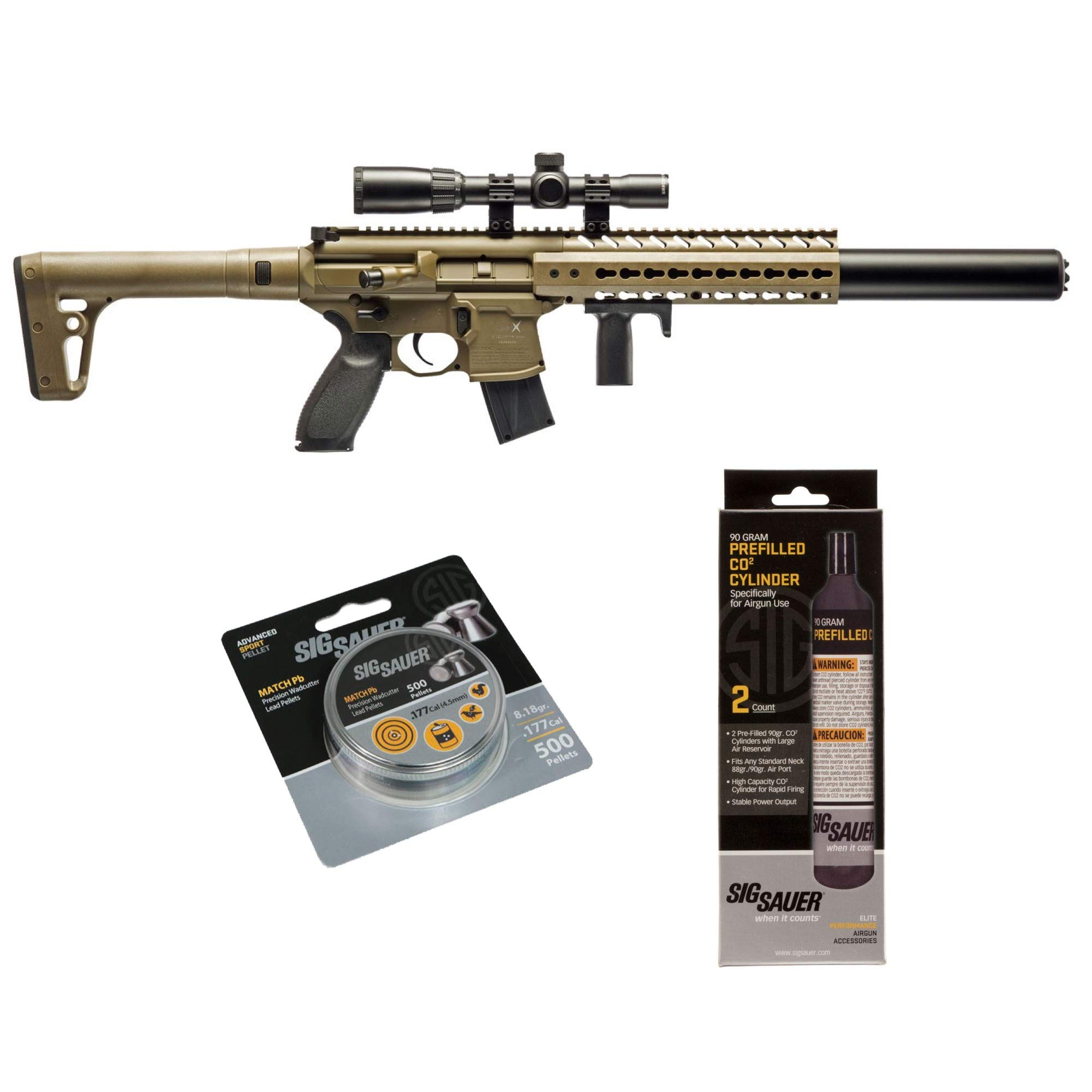 SIG Sauer MCX .177 Cal CO2 Powered Advanced Air Rifle with CO2 90 Gram (2 Pack) and 500 Lead Pellets Bundle (FDE, 1-4x24 Scope) by SIG