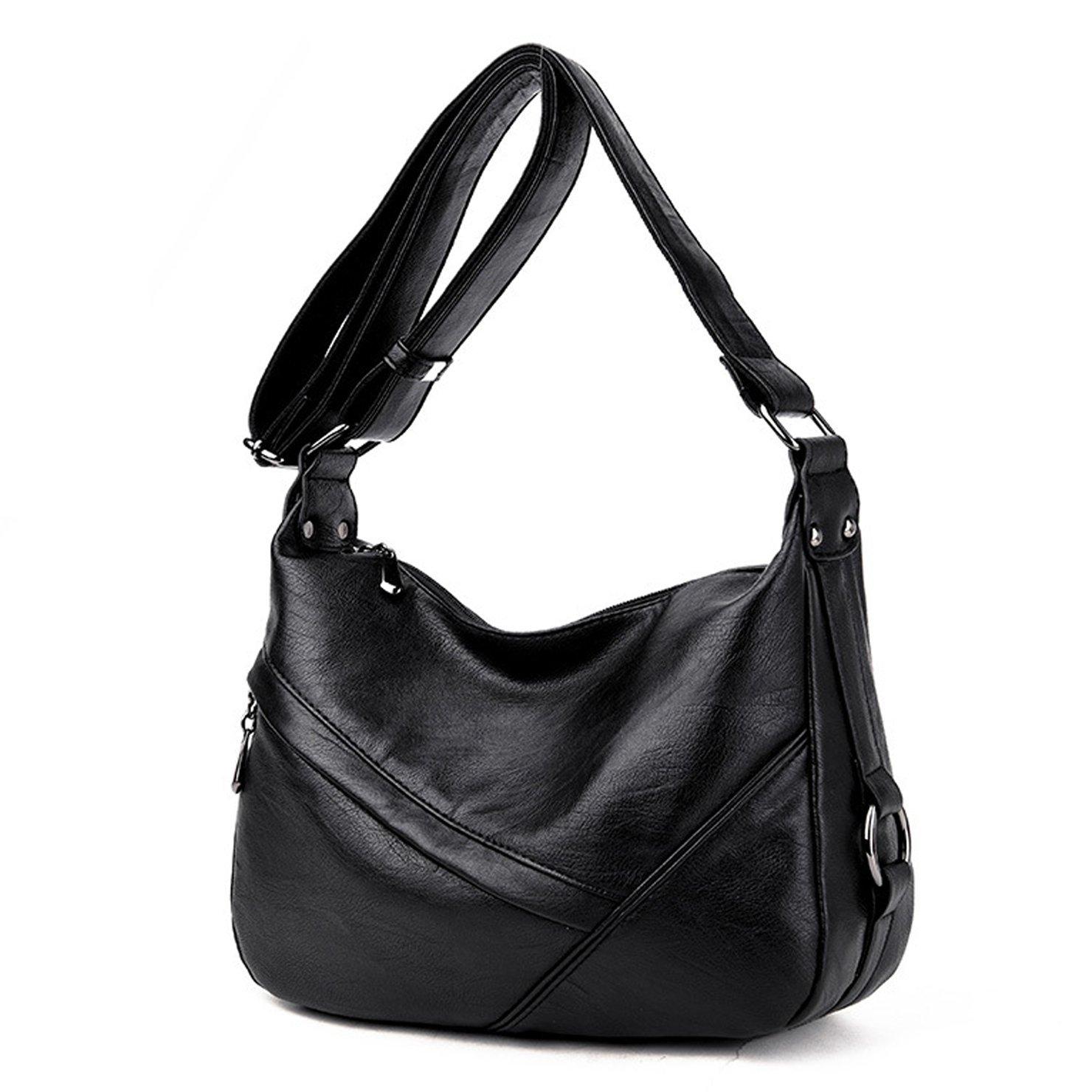Lustear Ladies Soft Leather Shoulder Bags Hobo Style Bag (Black)
